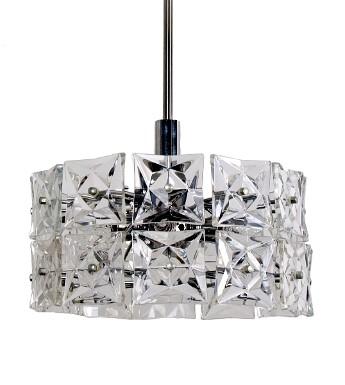 Mid Century Modern Geometric Kinkeldey Two Tier Round Hanging Light